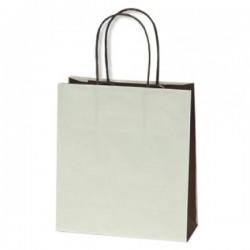 Τσάντα εκρου-καφε με στριφτή λαβή 18x20x8