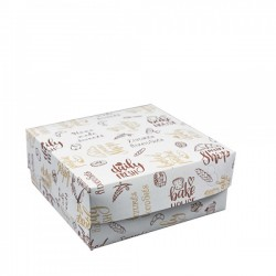 Κουτιά ζαχαροπλαστικής Νο10 λευκά με σχέδιο / 10 Κι&lamb