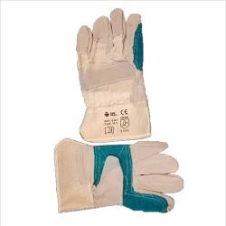 Γάντια δερματοπάνινα πράσινη ενίσχυση λευκό