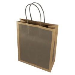 Τσάντα κραφτ καφέ με στριφτή λαβή 22x27,5x10