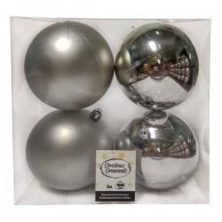 Μπάλα Πλαστική Σετ 4 Τεμαχίων Ασημί