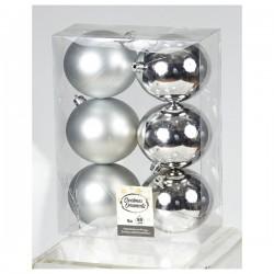 Πλαστική Μπάλα 80 cm Ασημί Σετ 6 Τεμαχίων