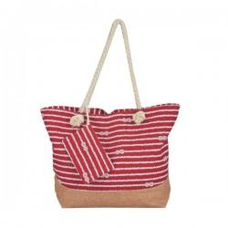 Τσάντα κόκκινη μπεζ 51,5 x 38 x 15 cm με σχοινί χεράκι