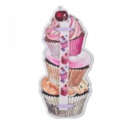Κερί Cupcakes 29,5 x 3 x 1,5 cm σε Ξύλινη Βάση Διακοσμητικό Τοίχου