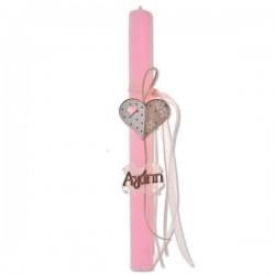 Λαμπάδα 30 x 2,5 cm Ροζ Σαγ. με Καρδιά & Αγάπη