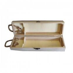 Κουτί ξύλινο λευκό για φιάλη 35x10x8cm με κορδόνι